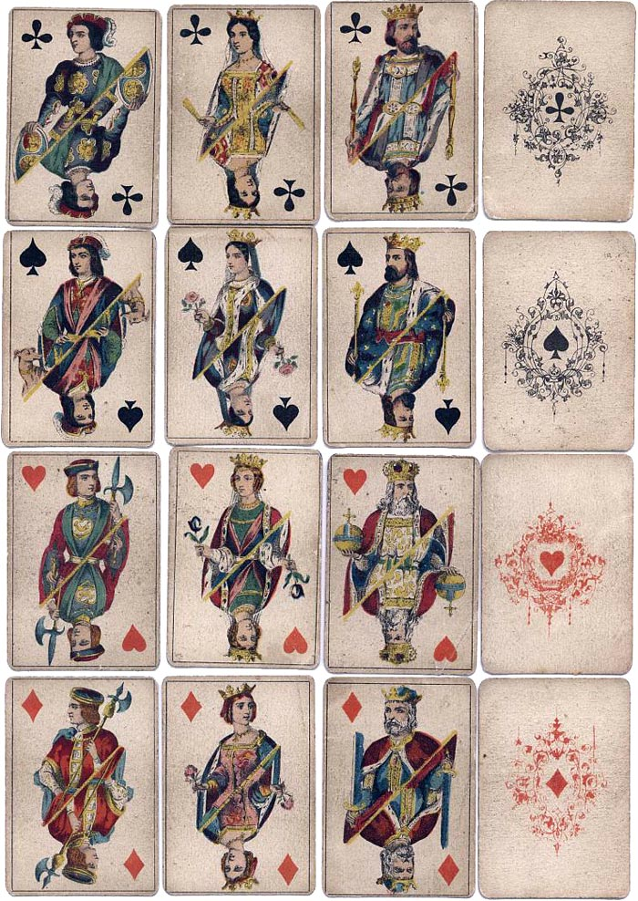 cards from a stencil-coloured pack with double-ended courts by O. Gibert, mid-19th century Paris