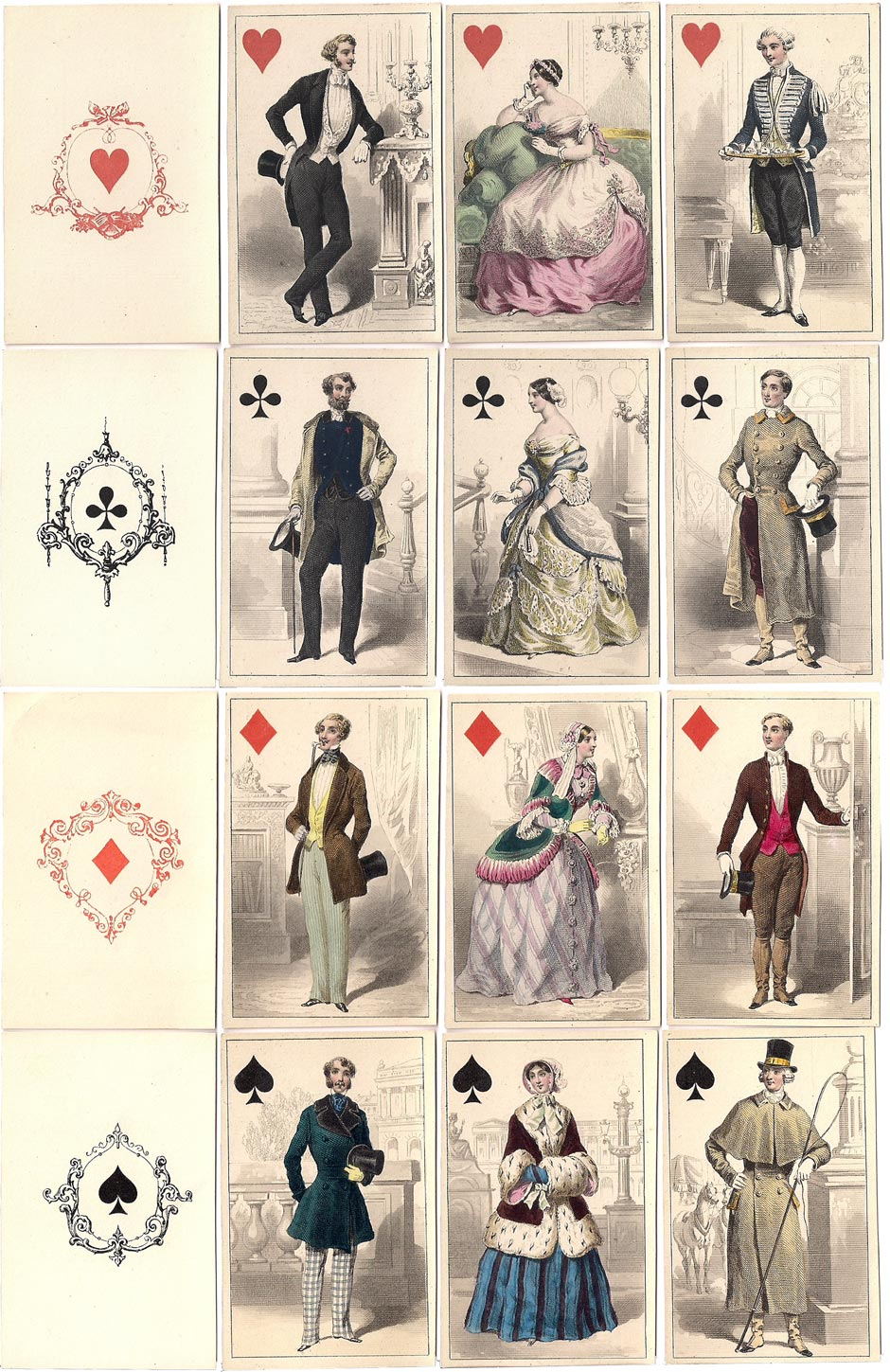 French Costume playing cards published by O. Gibert, Paris, c.1850