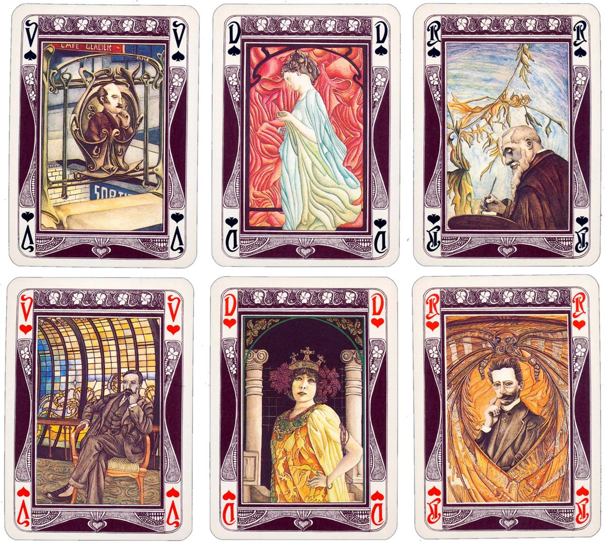 'Jeu de Cartes 1900' designed by Marie Christine Schira in the Art Nouveau or Jugendstil style, Grimaud, 1979