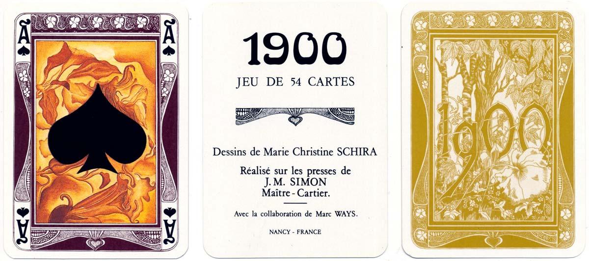 'Jeu de Cartes 1900' designed by Marie Christine Schira in the Art Nouveau or Jugendstil style, Grimaud, 1979