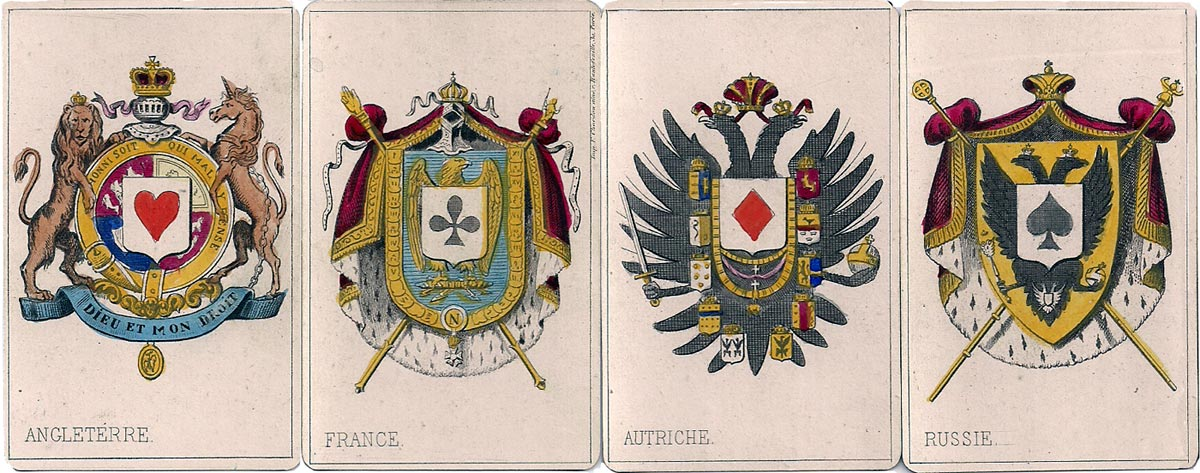 The four aces carry the arms of England, the imperial arms of France and the arms of Austria and Russia