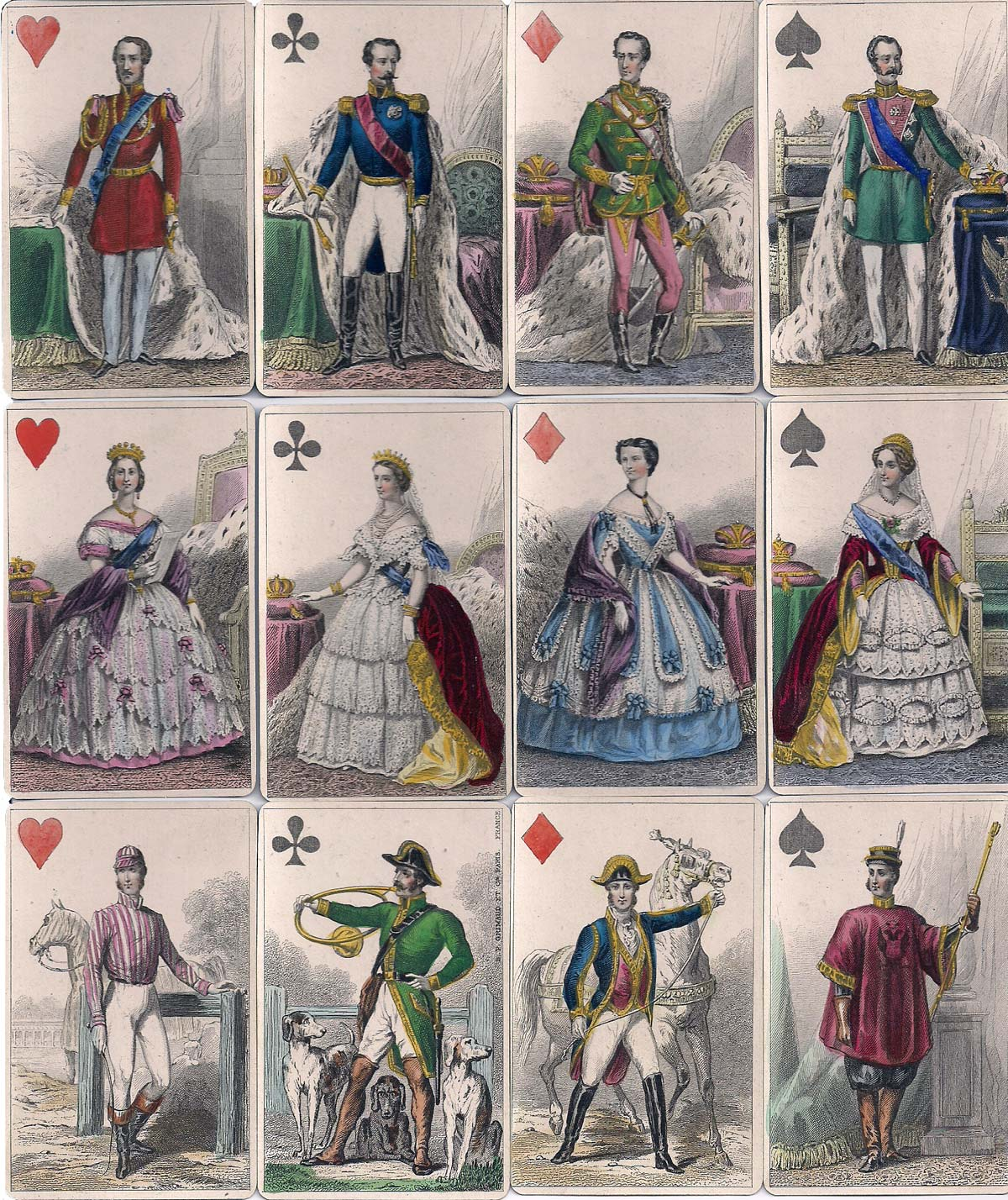 'Cartes Imperiales et Royales' published by B. P. Grimaud & Cie representing imperial rulers and consorts from Austria, England, France & Russia, mid-19th century