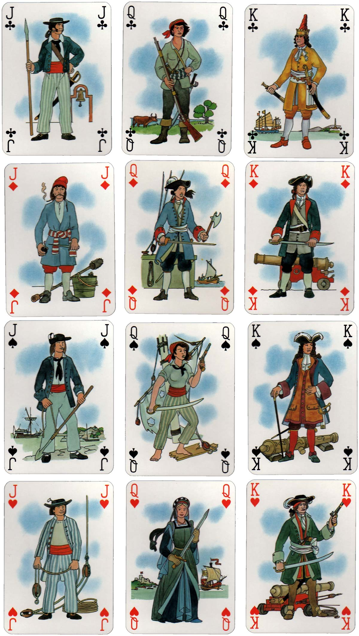 Corsaires playing cards designed by Jean Bruneau, 1984