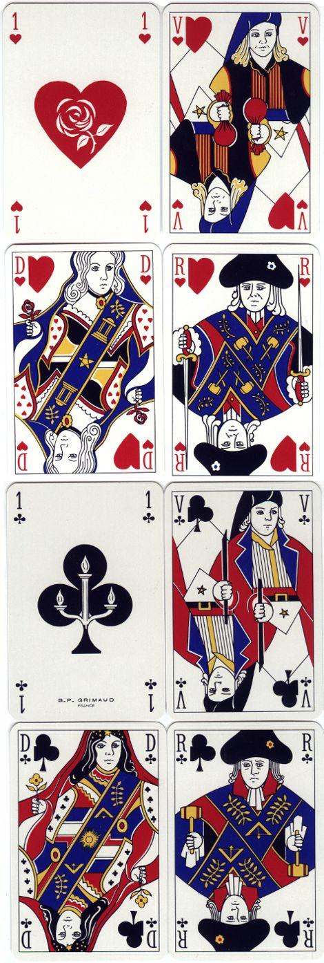 Masonic playing cards designed by Julien Lebleu, 1980