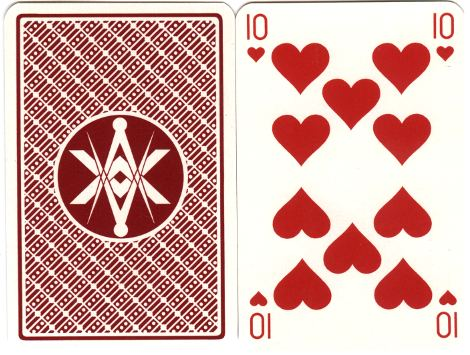 back design from Masonic playing cards designed by Julien Lebleu, 1980