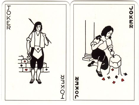 Jokers from Masonic playing cards designed by Julien Lebleu, 1980