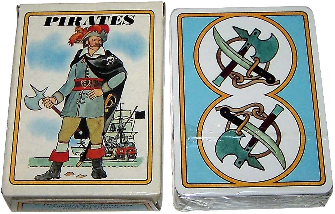 """Pirates"" playing cards designed by Jean Bruneau, 1984"