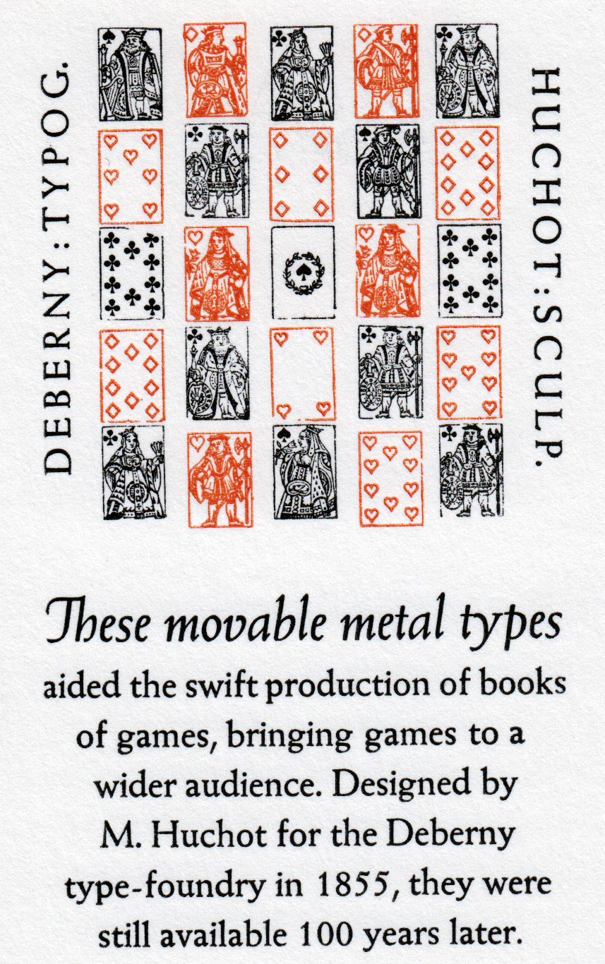 Miniature playing card typeface, 1855