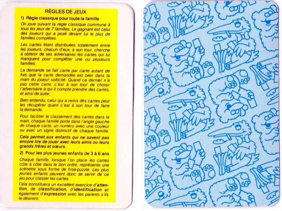 """Marché 7 Familles"" Happy Families card game rules published by France Cartes, c.1985"