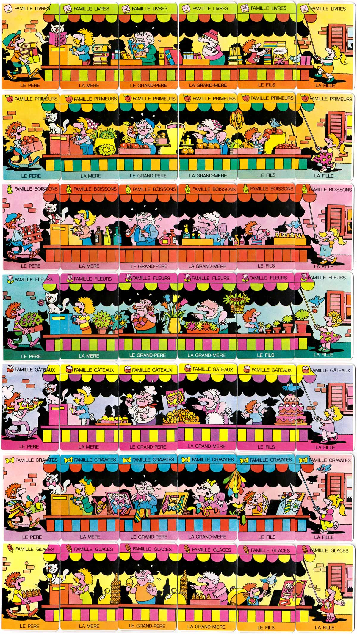 """Marché 7 Familles"" Happy Families card game published by France Cartes, c.1985"