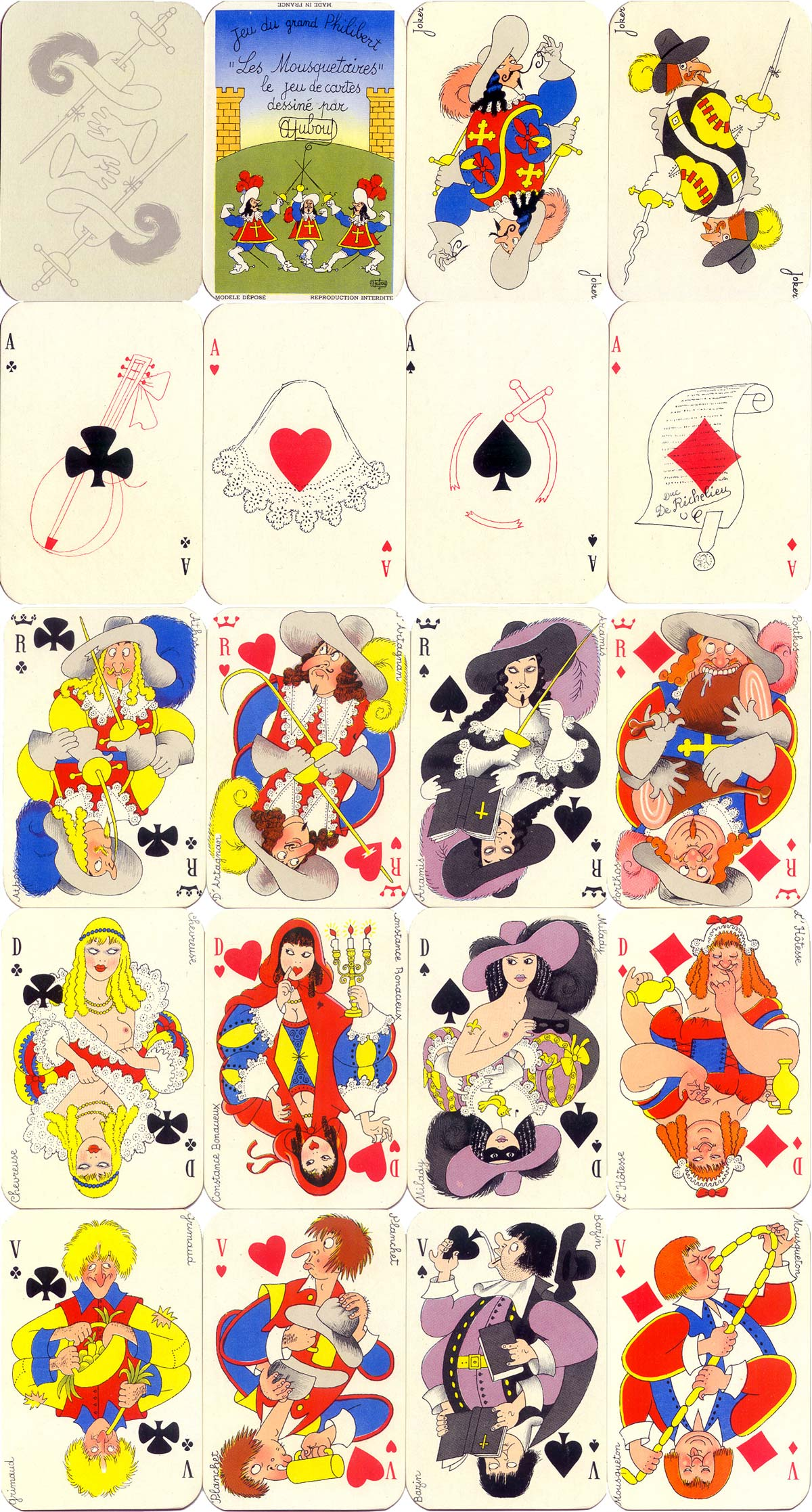 'Les Mousquetaires' playing cards, designed by Albert Dubout, c.1954