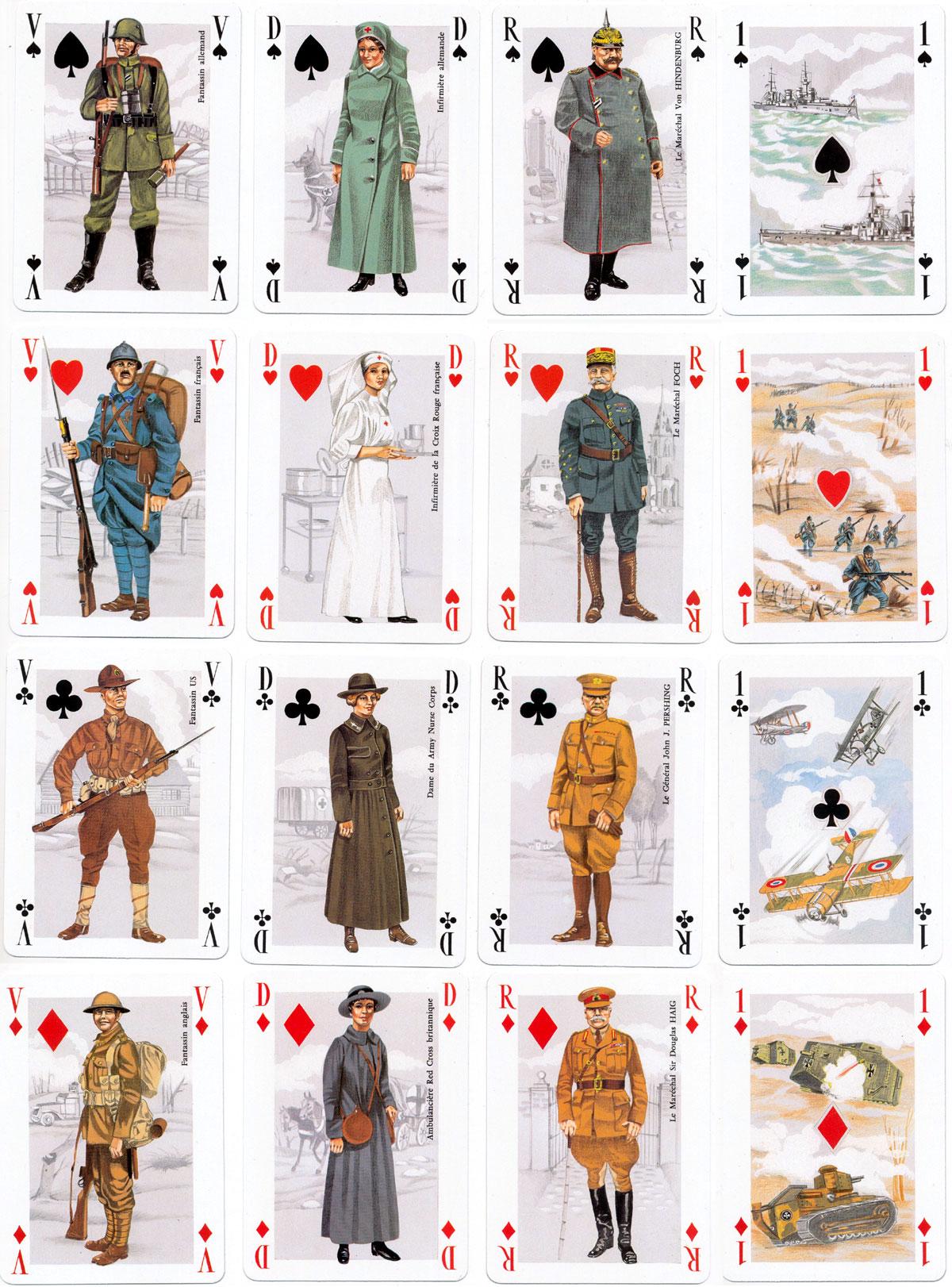 """""""Première Guerre Mondiale 1914-1918"""" playing cards published by Éditions J.C. Dusserre (Maitres Cartiers Boéchat Frères), Paris"""