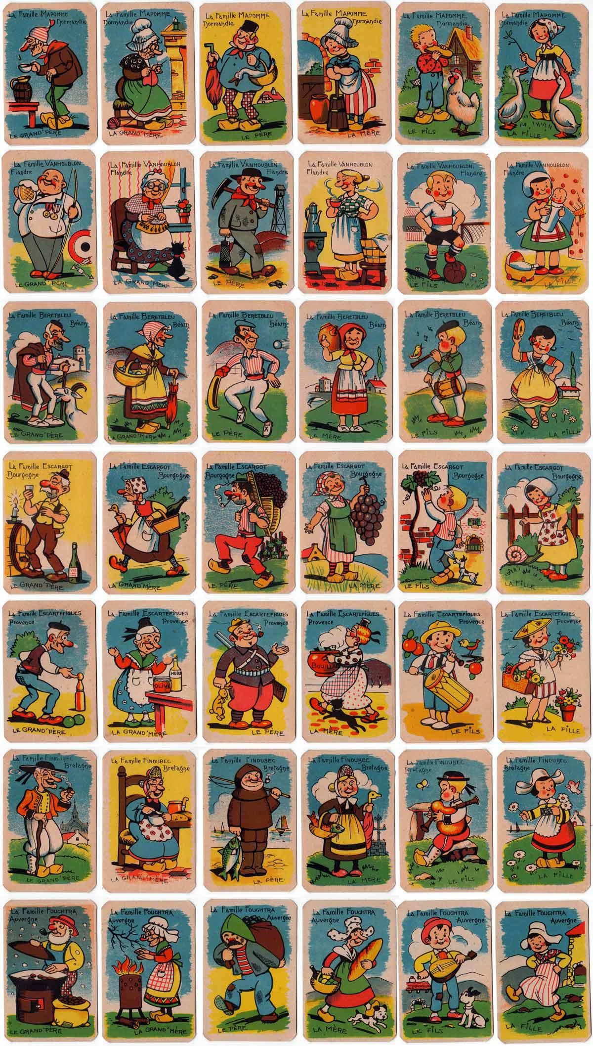 Jeu des 7 Familles Provinciales printed by Imprimerie Nisse, c.1930s