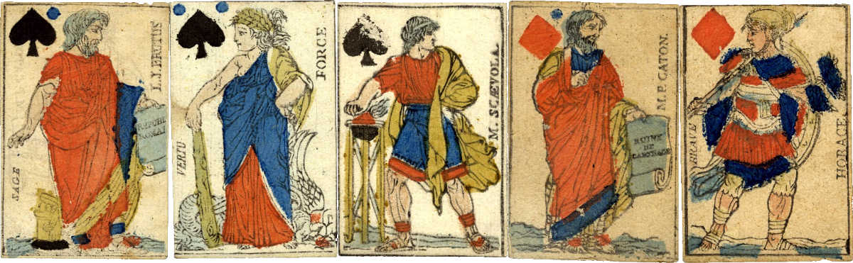 French Revolutionary figures on the court cards, end of 18th century