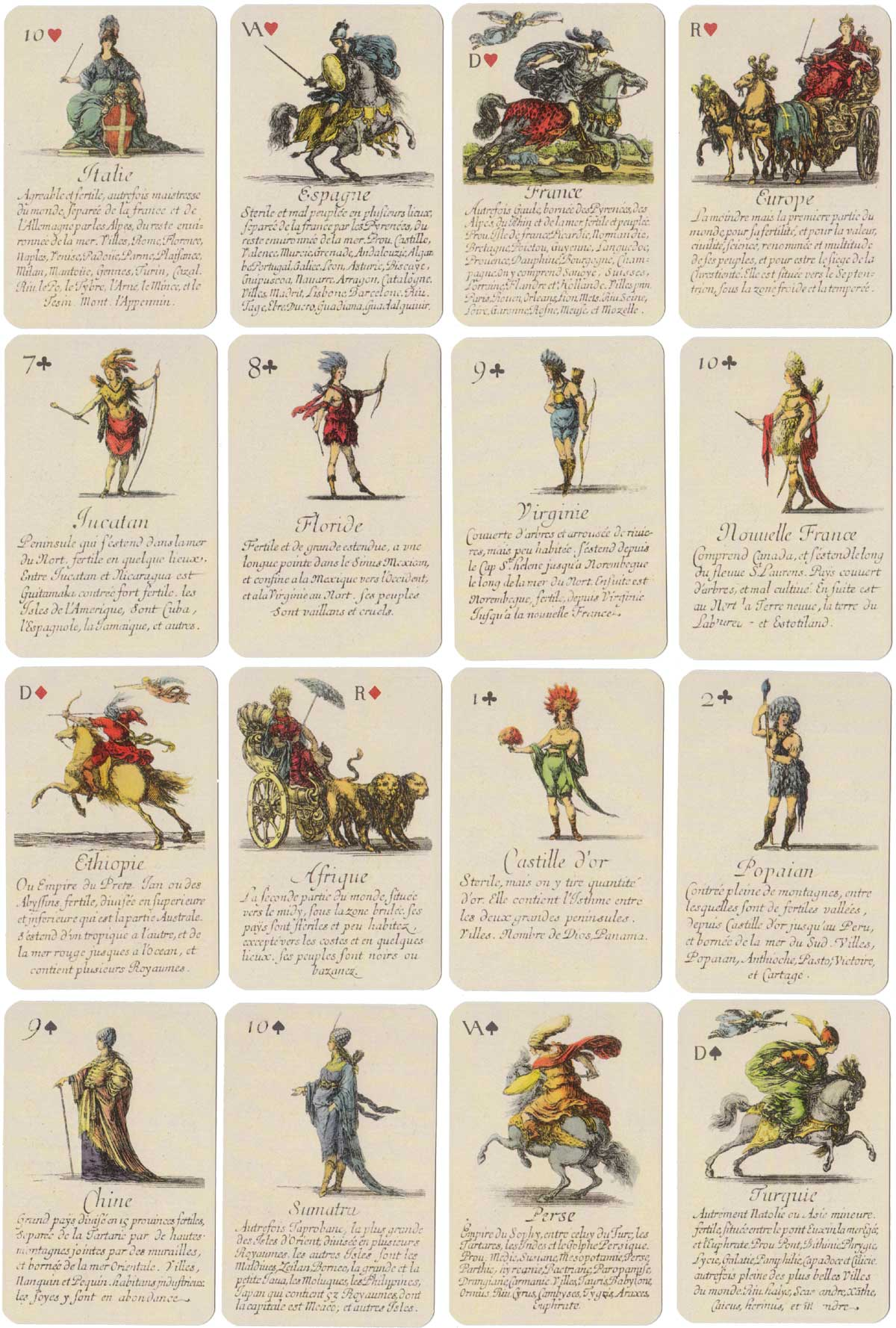 """Jeu de Géographie"" educational playing cards etched by Stefano Della Bella (1610-1664) and published Lo Scarabeo, 2004"