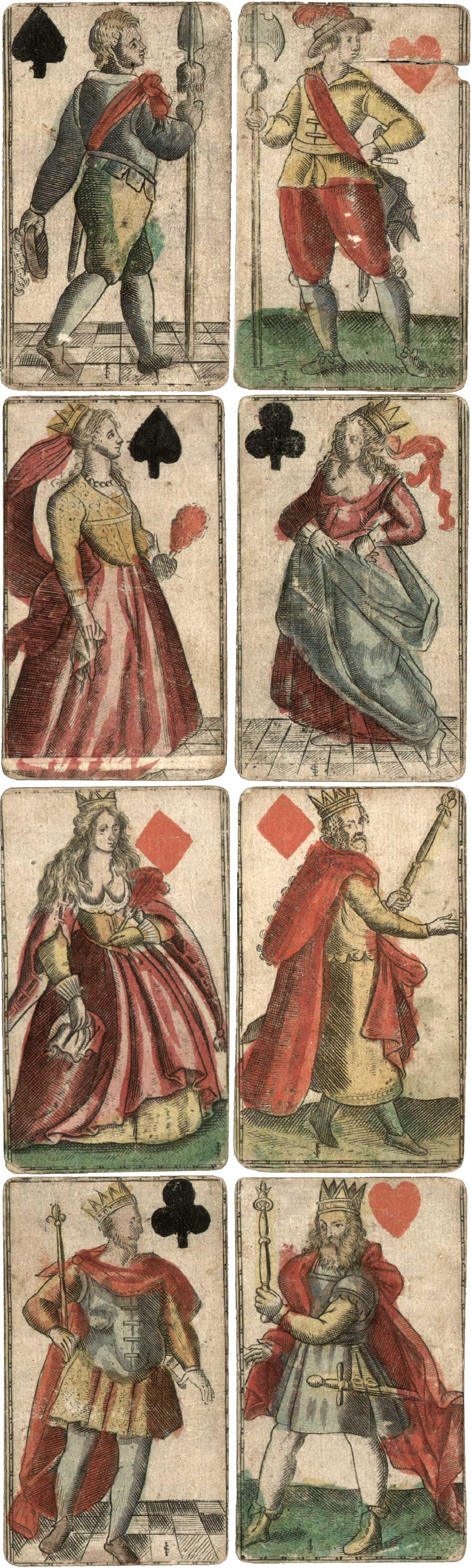 French suited German engraved cards c1610-1650