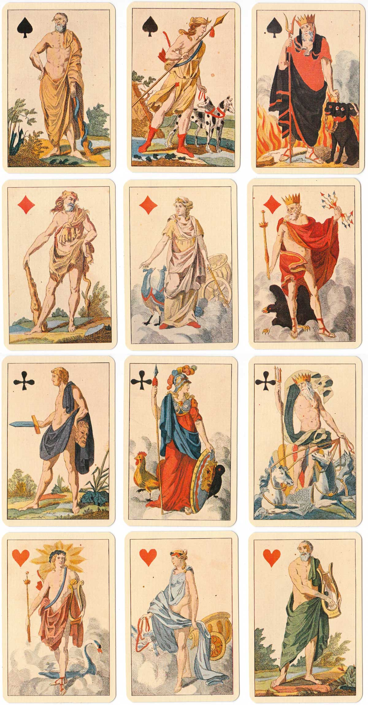 "facsimile of ""Antike Götter"" playing cards first published by C. A. Müller, Berlin, 1830"