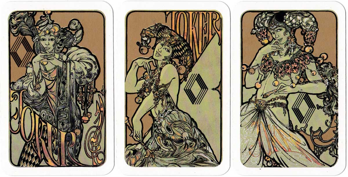 Art nouveau style playing cards designed by Otto Benz for Renault, 1987