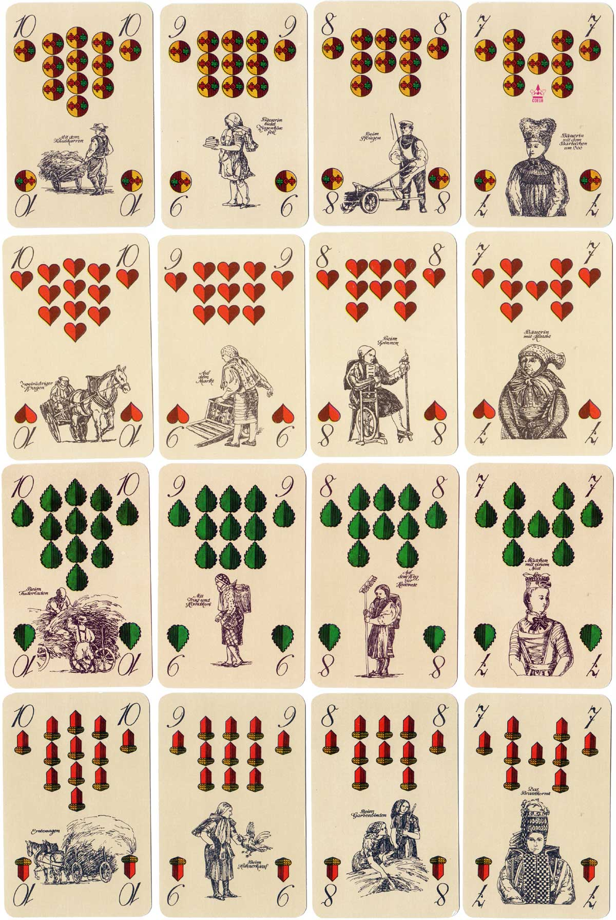 """Altenburger Bauerntrachten"" commemorating 150 years of playing cards from Altenburg, designed by Andreas Wachter, 1982"