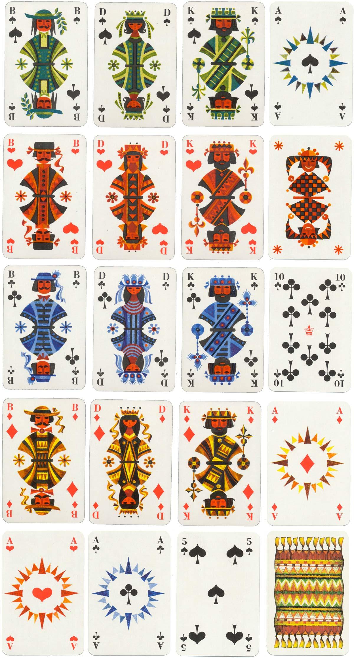 """Folklore"" deck designed by Eva & Gottfried Bormann manufactured by Altenburger Spielkarten Fabrik (Germany) first published in 1968"