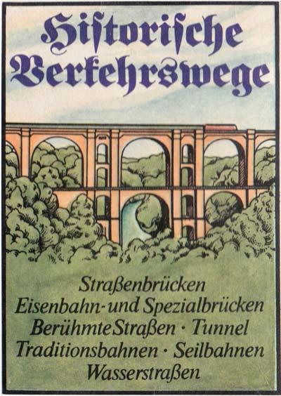 """""""Historische Verkehrswege"""" quartet game published by Verlag für Lehrmittel Pössneck, 1988"""