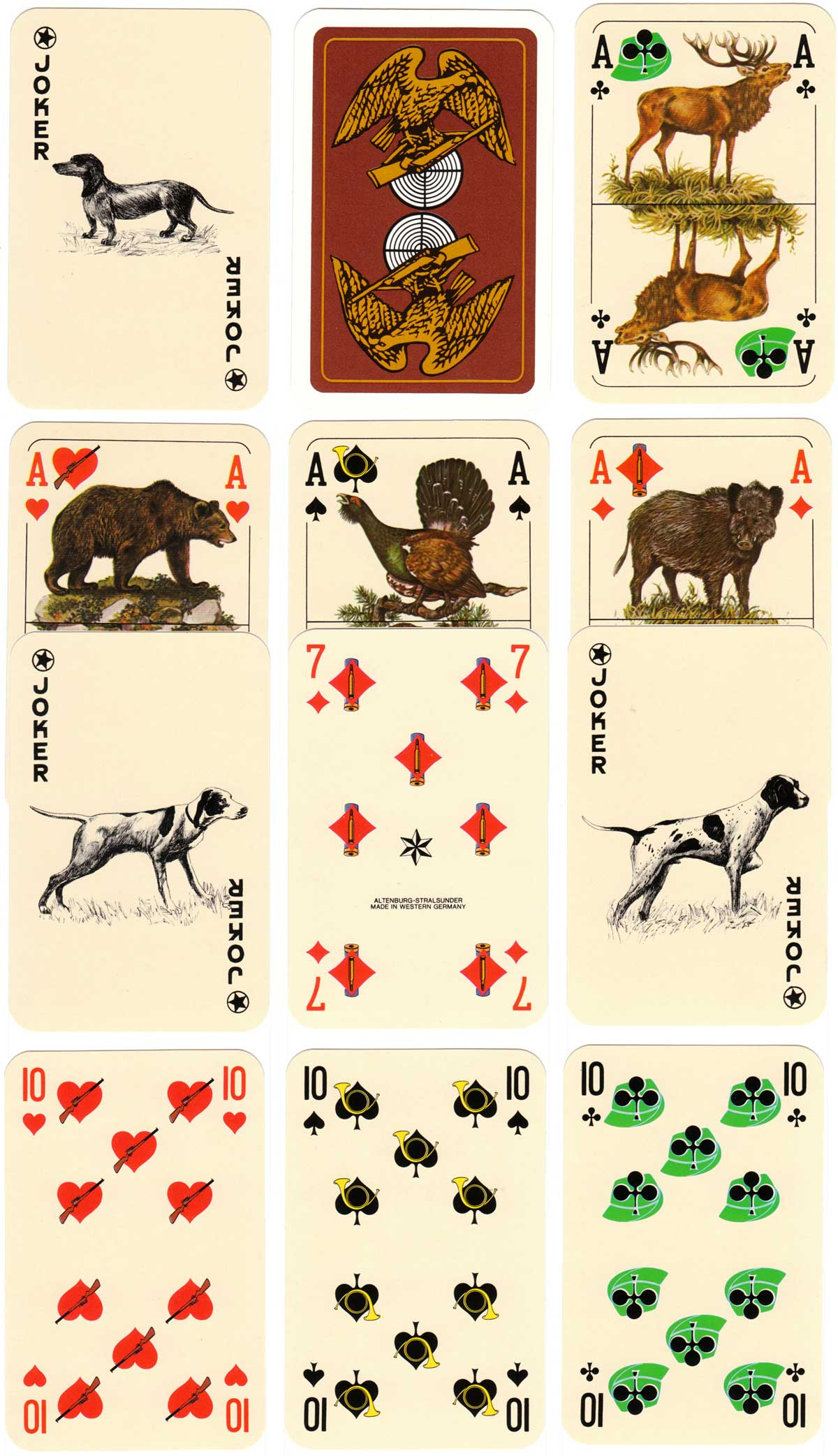 """Hunter's Bridge"" playing cards by ASS depicting animals and associated symbols of hunting, c.1976"
