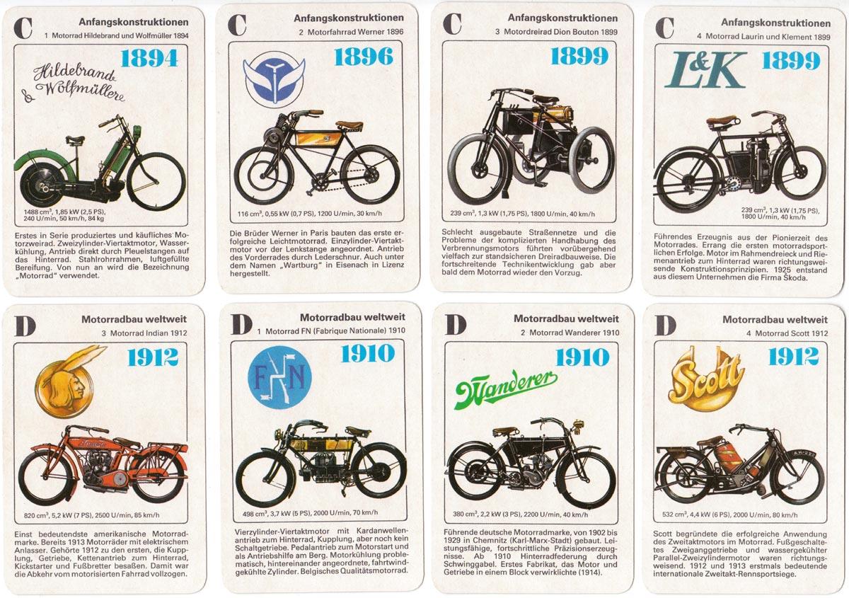 Geschichte des Motorrades quartet published by Verlag für Lehrmittel Pössneck, 1989