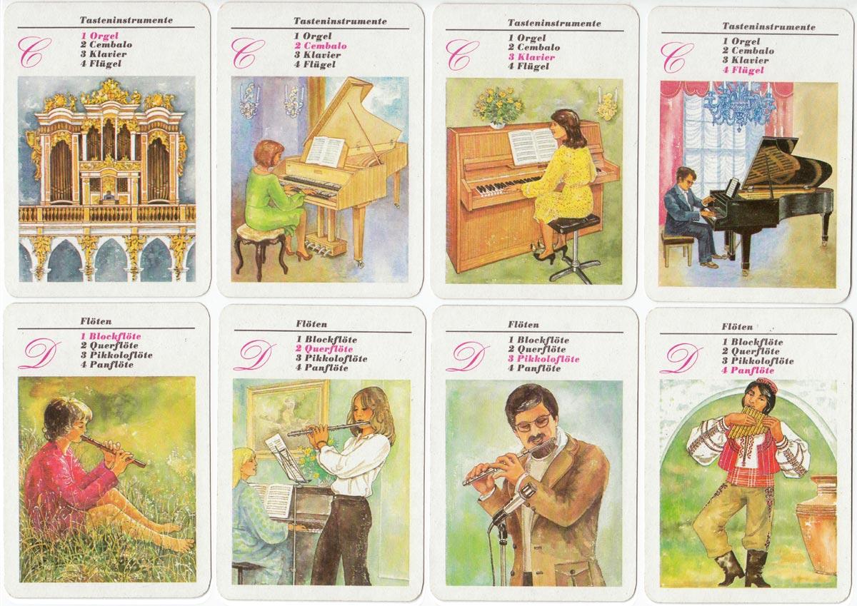 Musikinstrumente quartet game published by Verlag für Lehrmittel, Pössneck, 1984