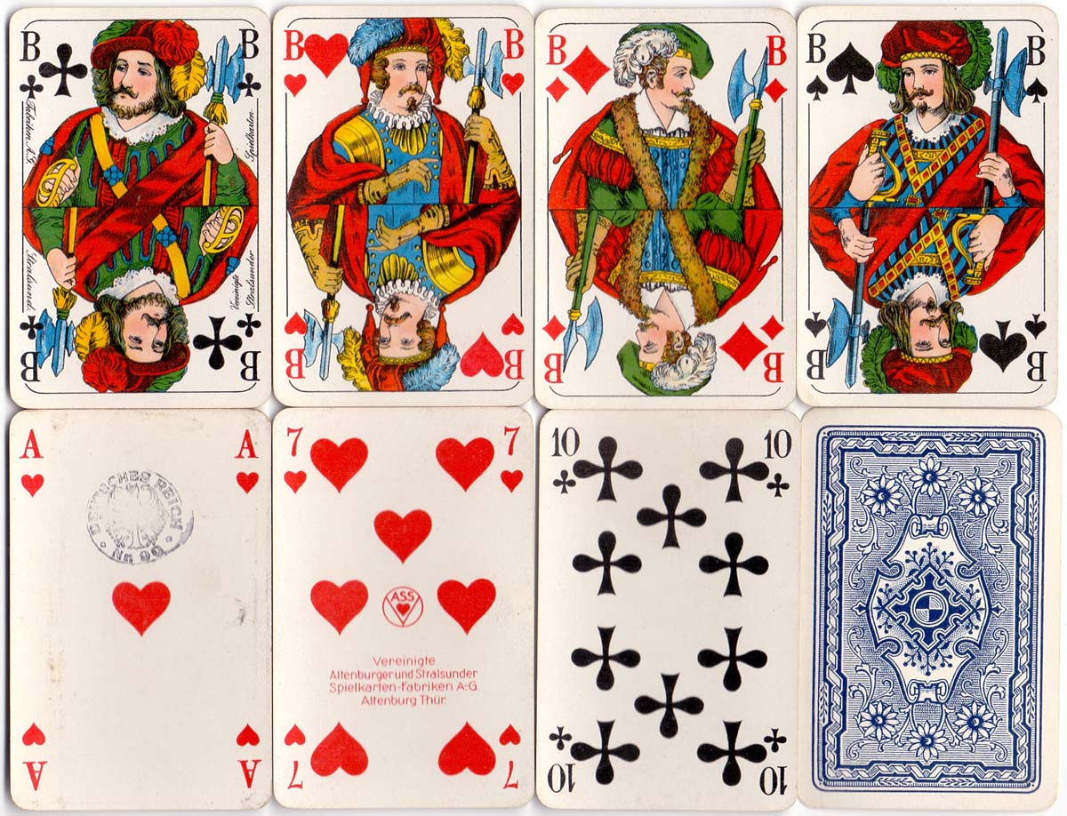 German 'Skat' deck in the North German pattern manufactured by Vereinigte Altenburger und Stralsunder Spielkarten-Fabriken A-G., c.1935