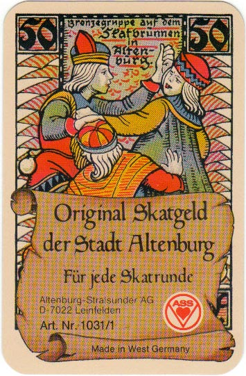 """Original Skatgeld der Stadt Altenburg"" featuring the emergency money of 1921 designed by Otto Pech"