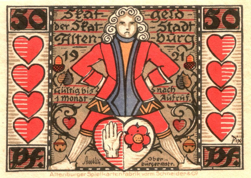 """Skatgeld der Stadt Altenburg"" emergency money of 1921 designed by Otto Pech"