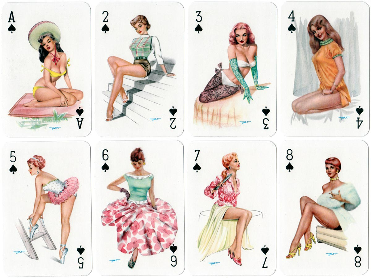 Darling pin-up playing cards designed by Heinz Villiger, c.1950s-60s