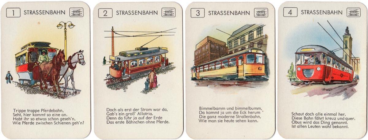 Verkehrsmittel Einst und Jetzt quartet game, Bielefelder Spielkarten Fabrik GmbH, 1958