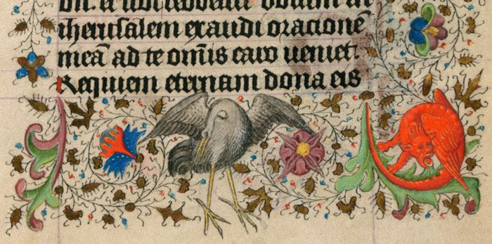 border detail showing a heron from St. Michael Weighing Souls, illuminated by the Master of Catherine of Cleves, Utrecht, The Netherlands, c.1440. Morgan Library & Museum MS M.945, f. 108v–M.917, p. 29