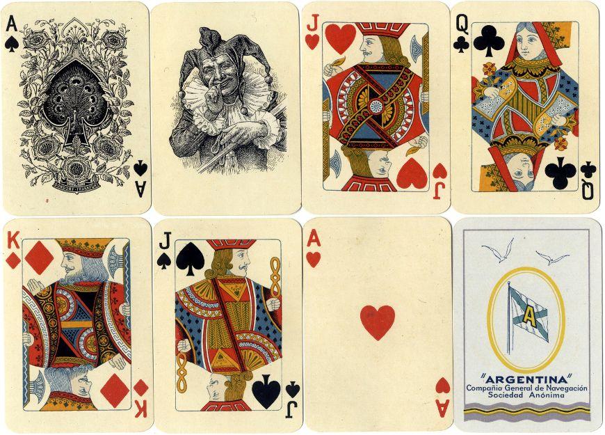Dondorf Poker-Karte No. 195, re-issued as Poker No. 140 for the Argentina Compañia General de Navegación Sociedad Anónima