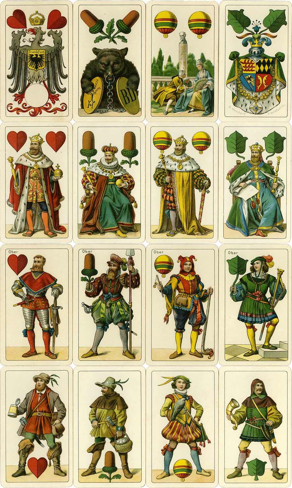Deuces and Court cards from Dondorf's Einköpfige Deutsche Spielkarte No.303