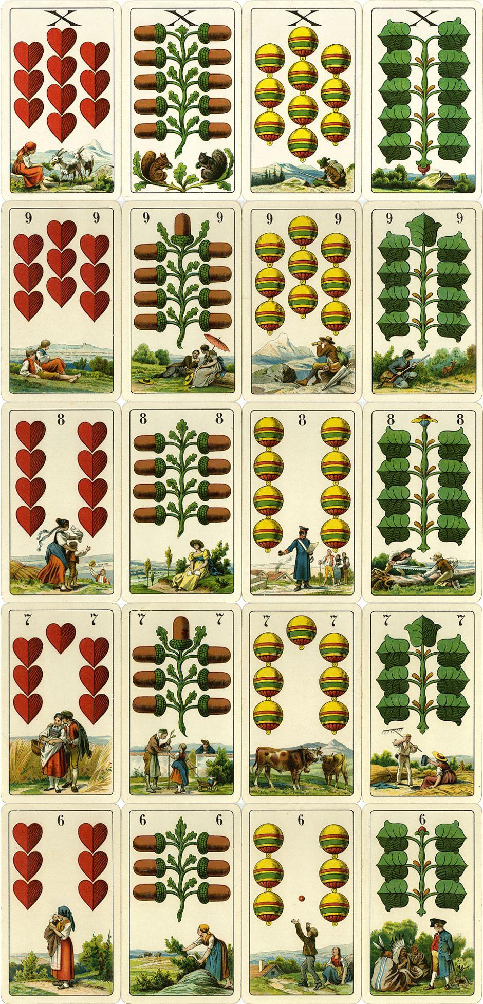 Numeral cards from Dondorf's Einköpfige Deutsche Spielkarte No.303