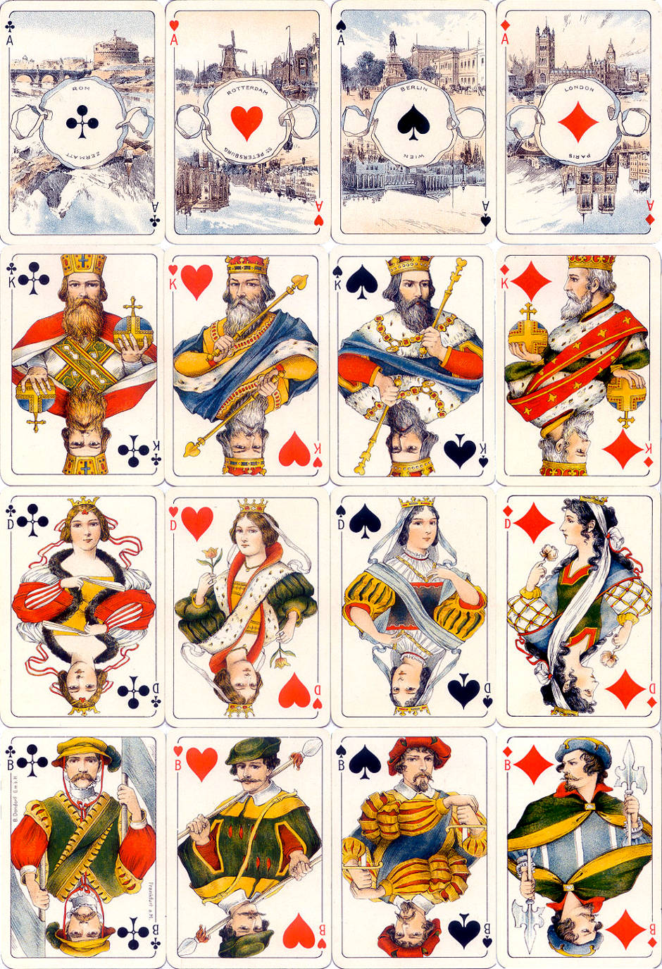 Dondorf's Hauptstadte-Spiel, c.1910, in which the four Aces depict scenes from European capital cities