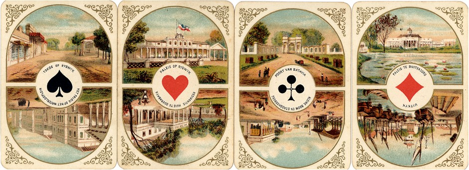 the four Aces from Dondorf's Fynste Java Speelkaarten No.17 published for Gumprich & Strauss in Batavia to commemorate the second marriage of King William III with Princess Emma of Waldeck-Pyrmont in 1879