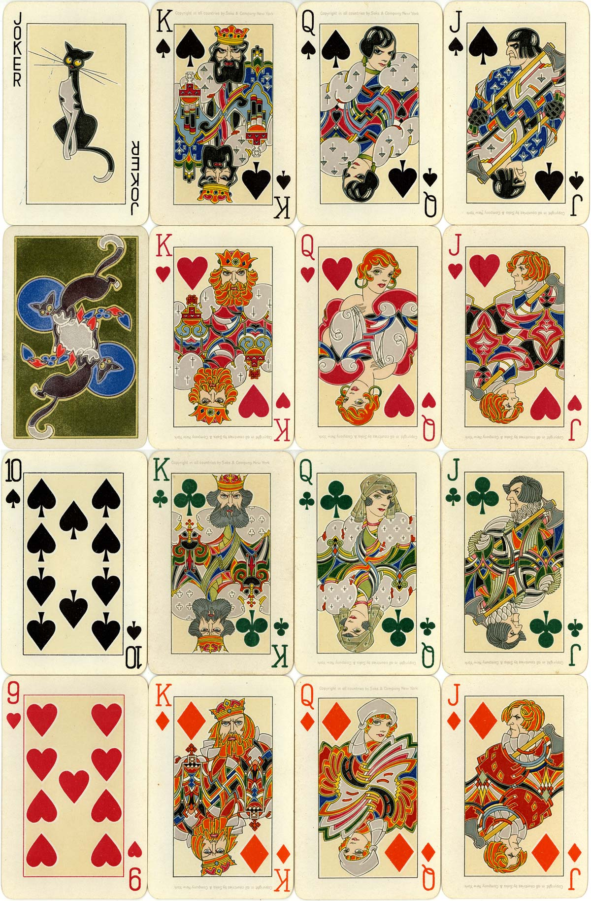 promotional playing cards printed by Dondorf for Saks & Company, New York, late 1920s