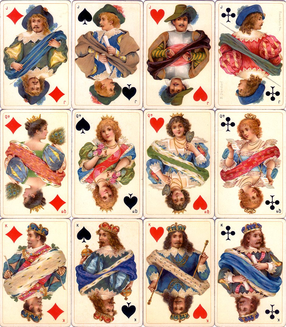 Dondorf's 'Stuart Zeit' Whist No.178 fantasy Stuart period costume playing cards, c.1900