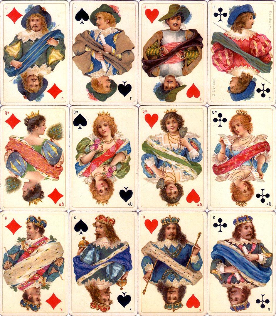 Dondorf's 'Stuart Zeit' No.178 fantasy Stuart period costume playing cards, c.1900