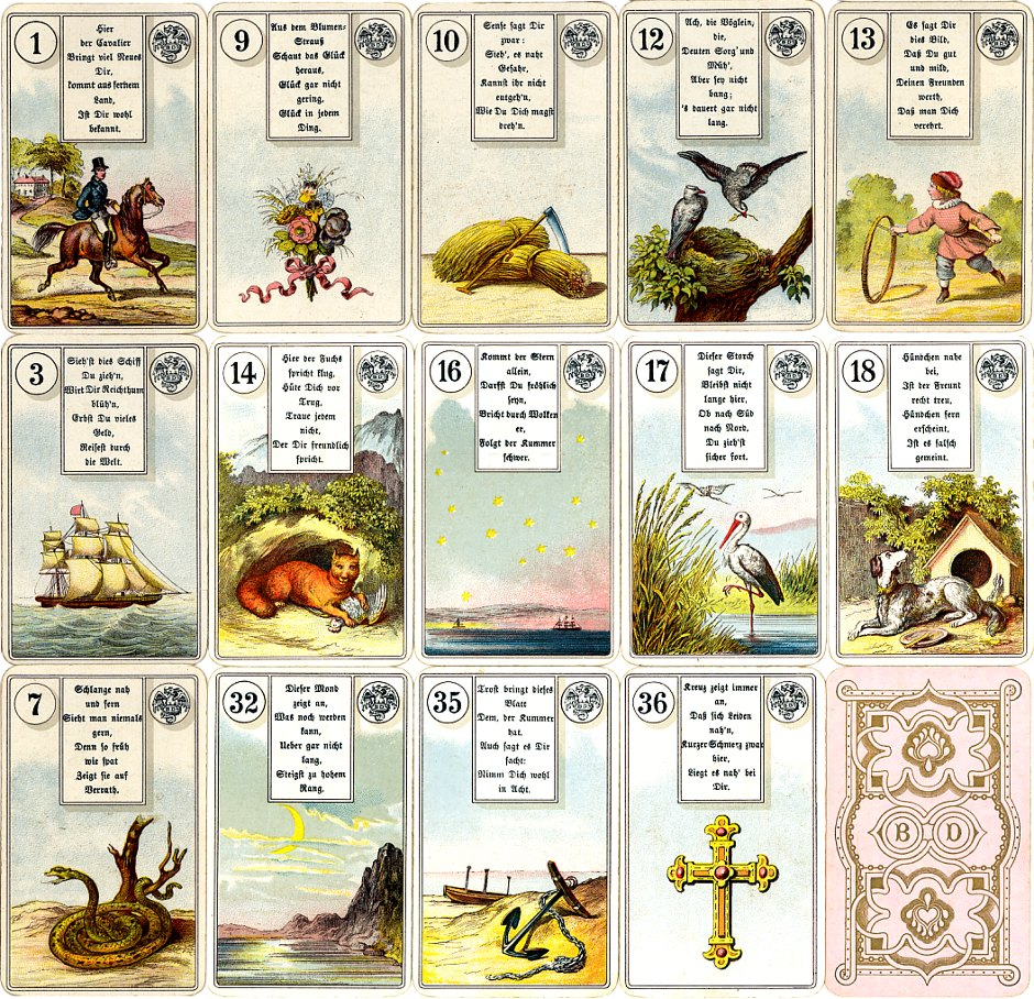 Dondorf's 'Wahrsage-Karten No.2' Madame Lenormand fortune-telling cards, c.1911