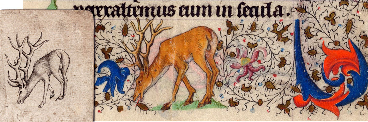 border detail showing a grazing deer from St. Michael Weighing Souls, illuminated by the Master of Catherine of Cleves, Utrecht, The Netherlands, c.1440. Morgan Library & Museum MS M.945, ff. 89v–90r