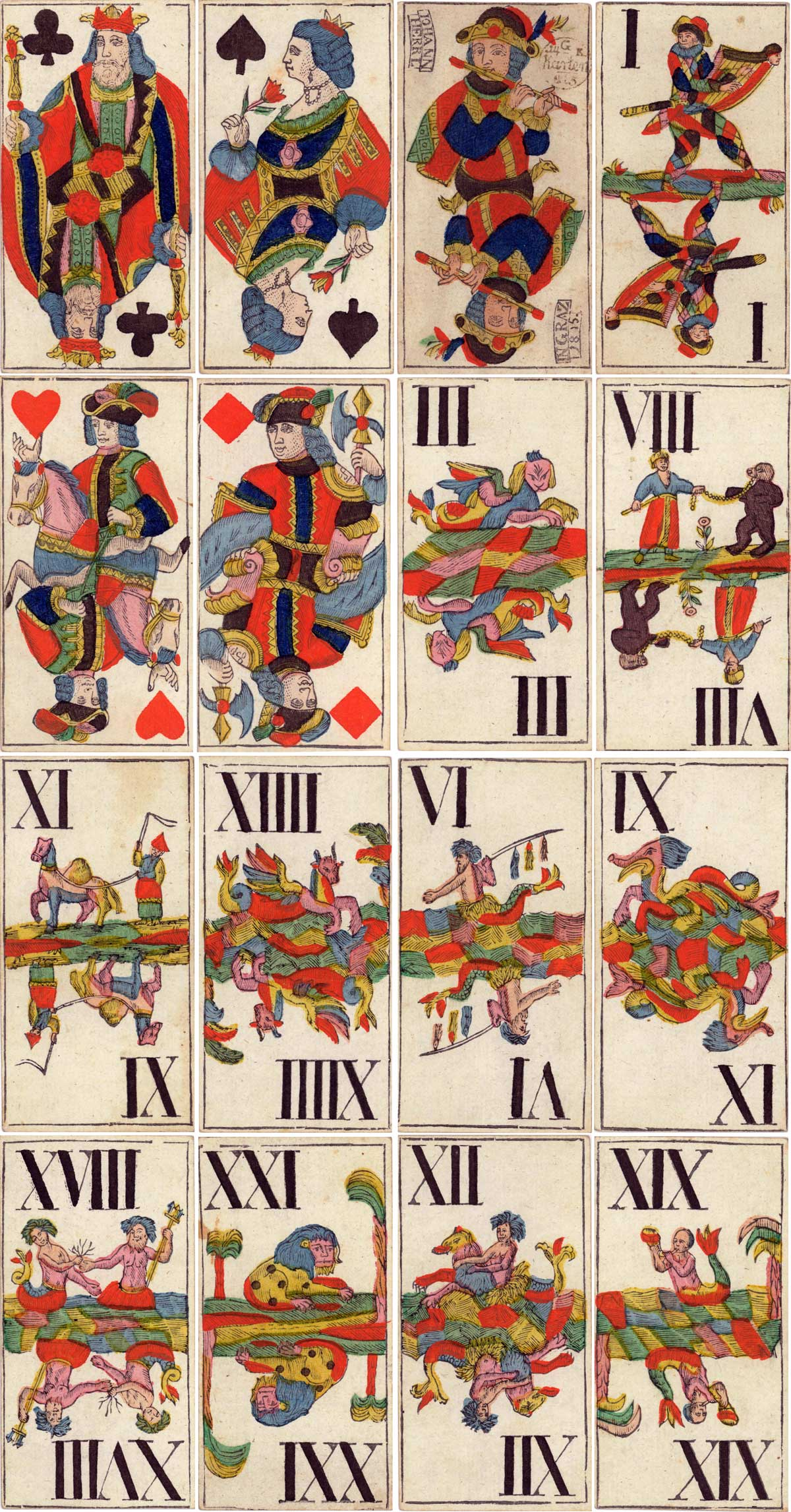 Tarock deck made by Johann Herrl in Graz 1815
