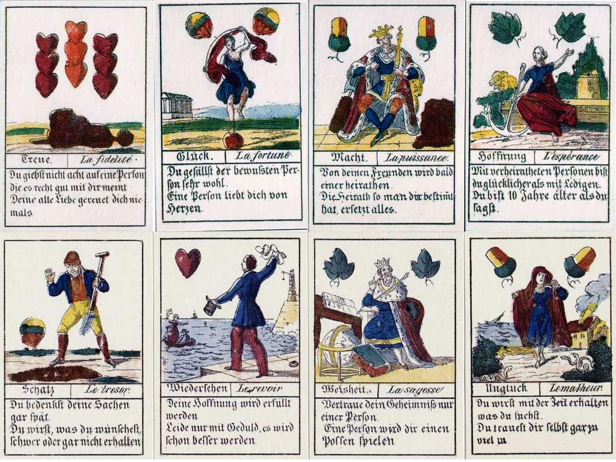German Fortune Telling Cards manufactured by Industrie Comptoir, Leipzig, c.1830