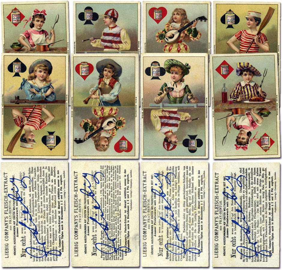 Liebig beef extract the world of playing cards above liebig trade cards featuring children as playing cards with pots of beef extract on the suit symbols 1891 german language text on the reverse biocorpaavc Choice Image