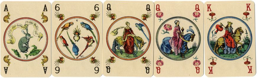 Cards from facsimile edition of Master PW Circular Playing Cards