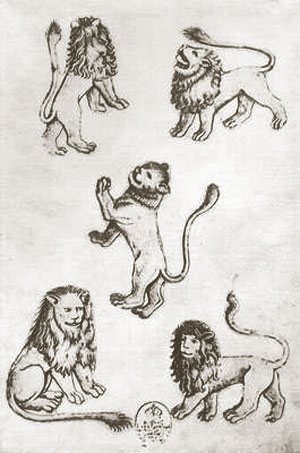 five of lions by the Master of the Playing Cards