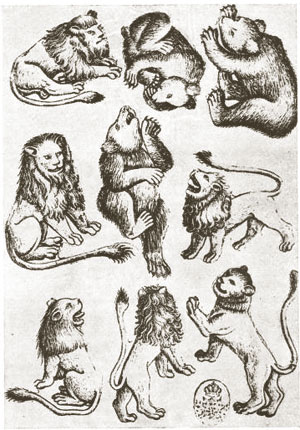 nine of wild animals by the Master of the Playing Cards